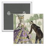 """Señora en """"promenade"""" de un vestido de la lila en  pin cuadrado"""