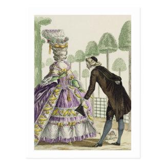 """Señora en """"promenade"""" de un vestido de la lila en postal"""