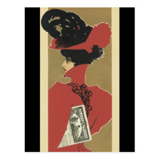 Señora en rojo con las plumas negras postal