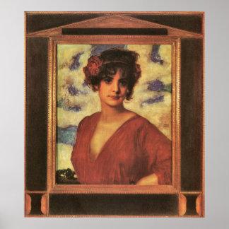 Señora en rojo de Francisco von Stuck Posters