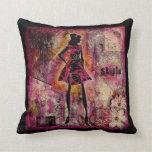 Señora en rosa con estilo y tolerancia almohadas