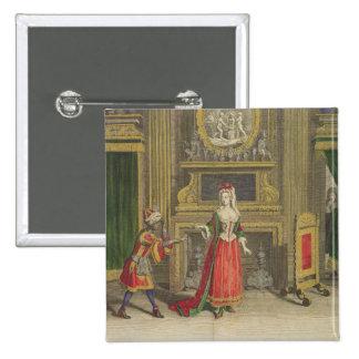 Señora en su dormitorio, c.1688-90 publicado (colo pin cuadrada 5 cm