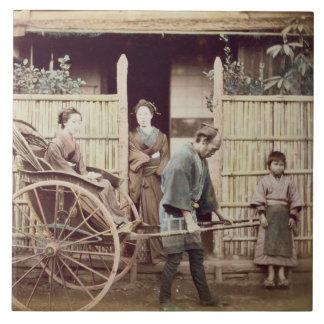 Señora en un carrito, c.1890s (foto coloreada) azulejos cerámicos