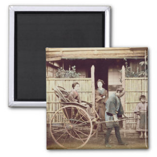 Señora en un carrito, c.1890s (foto coloreada) imán