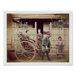 Señora en un carrito, c.1890s (foto coloreada) póster
