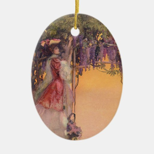 Señora en un jardín de las glicinias adorno navideño ovalado de cerámica