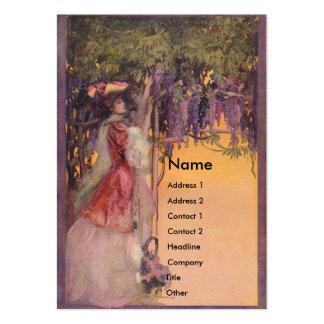 Señora en un jardín de las glicinias plantillas de tarjetas de visita