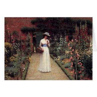 Señora en un jardín - Edmund Blair Leighton Tarjeton