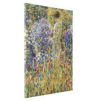 Señora en un jardín por arte del vintage de impresión de lienzo