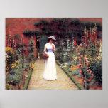 Señora en un poster del jardín