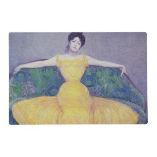 Señora en un vestido amarillo, 1899 salvamanteles