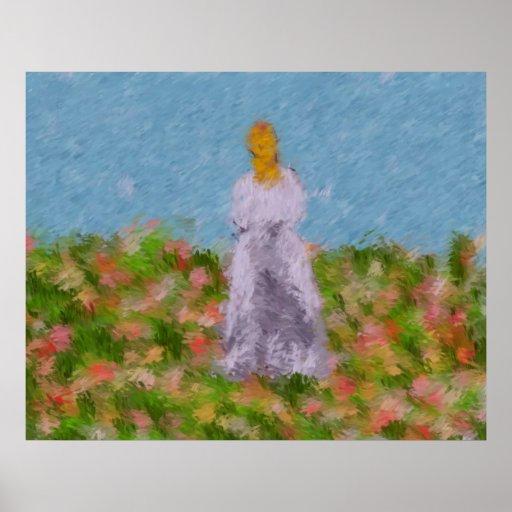 Señora en una impresión del campo del verano posters