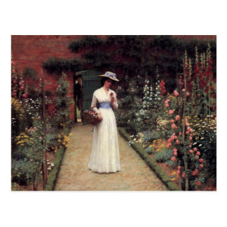 Señora en una pintura al óleo del jardín tarjeta postal
