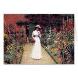 Señora en una postal del jardín felicitación