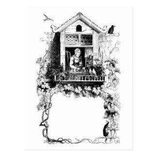 Señora en ventana, pájaros y vid postal
