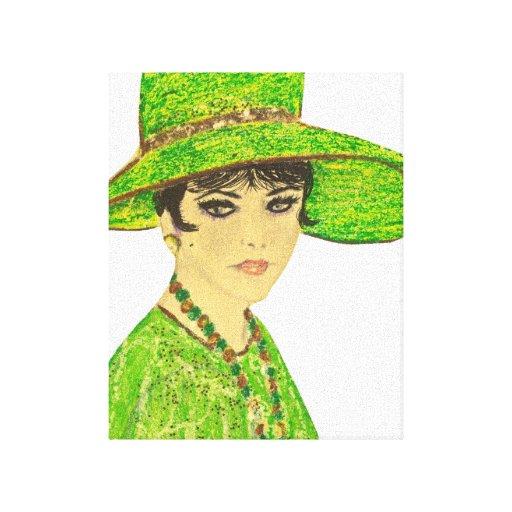 Señora en verde impresion de lienzo