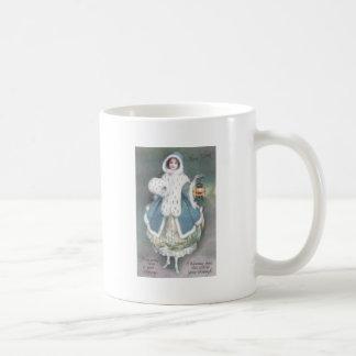 Señora en vestido azul con Año Nuevo del vintage d Taza De Café