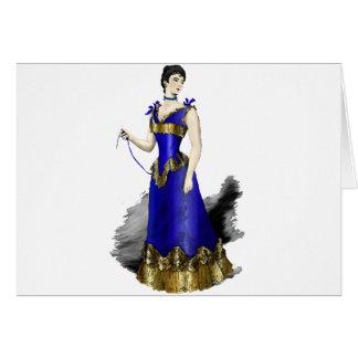 Señora en vestido azul del corsé del oro tarjeta de felicitación