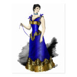 Señora en vestido azul del corsé del oro tarjeta postal