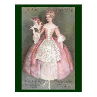 Señora en vestido rosado con Año Nuevo del vintage Postal