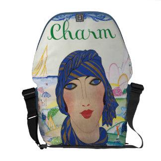 Señora encantadora del art déco del vintage bolsa de mensajeria