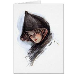 Señora encapuchada del vintage tarjeta de felicitación
