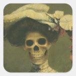 Señora esquelética gótica Sticker Calcomania Cuadradas Personalizadas