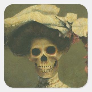 Señora esquelética gótica Sticker Calcomanía Cuadradas Personalizadas
