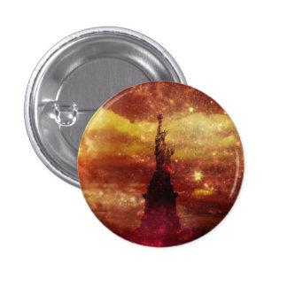 Señora estrellas rojas y amarillas de Liberty Pin Redondo De 1 Pulgada