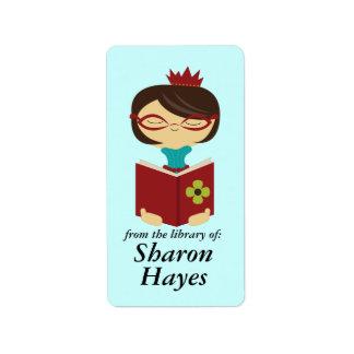 Señora estudiosa Bookplate Gift de la lectura de l Etiquetas De Dirección