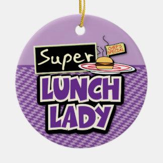 Señora estupenda del almuerzo adorno navideño redondo de cerámica