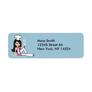 Señora etiquetas de devolución del panadero etiqueta de remite