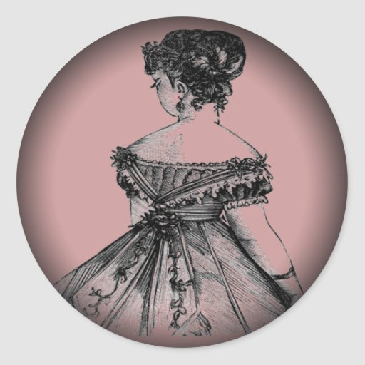 Señora Fade del Victorian a ennegrecerse alrededor Pegatina Redonda