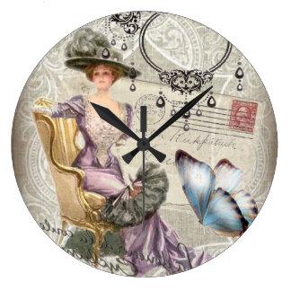 señora Fashion de París del vintage de la letra de Reloj
