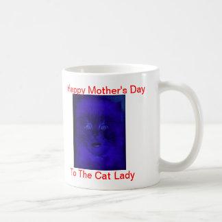 Señora feliz del gato del día de madre tazas de café