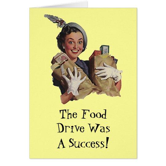 Señora feliz Food Drive Groceries Thank usted card Tarjeta De Felicitación