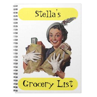 Señora feliz Gift Idea de la lista retra del Libro De Apuntes Con Espiral