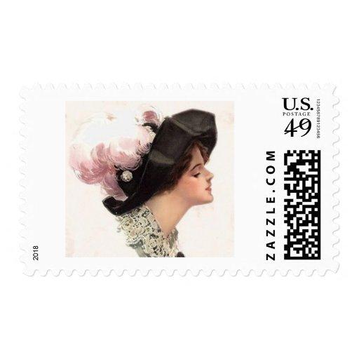 Señora femenina de las maneras en pluma del gorra timbres postales
