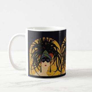 Señora festiva del art déco taza