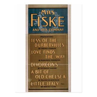 Señora Fiske y su teatro del vintage de la compañí Postal