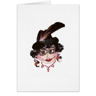 Señora flaca Crying para salir de la tarjeta