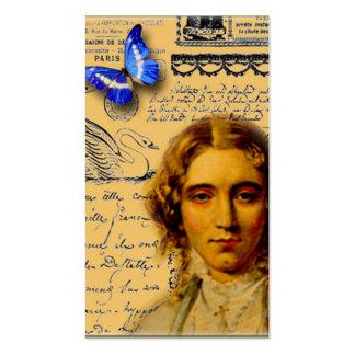 señora francesa con butterffly las etiquetas colga tarjeta de visita