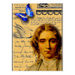 señora francesa con la mariposa tarjetas postales