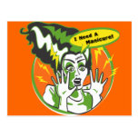 Señora Frankenstein Needs una manicura Tarjeta Postal