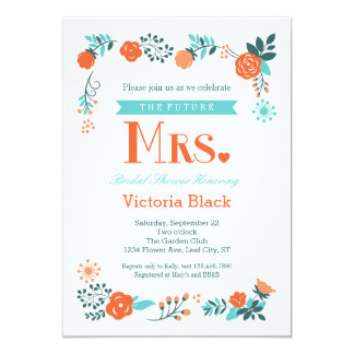 """Señora futura Floral Bridal Shower Invitation Invitación 5"""" X 7"""""""