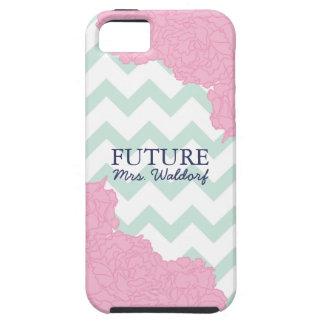 Señora futura Peonies y Chevron iPhone 5 Funda