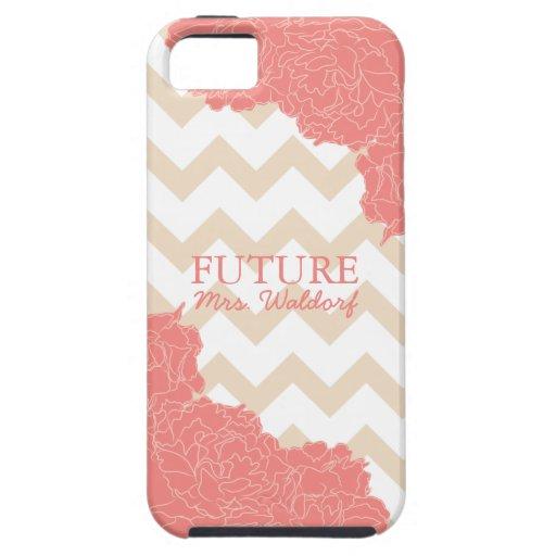 Señora futura Peonies y Chevron iPhone 5 Case-Mate Carcasa