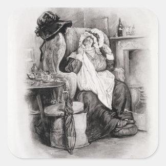 Señora Gamp, de 'Charles Dickens: Un chisme sobre Calcomanías Cuadradass Personalizadas