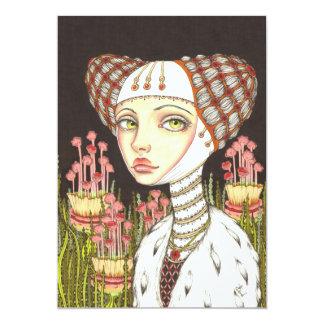 """Señora Gertrudis en el jardín de curiosidades Invitación 5"""" X 7"""""""