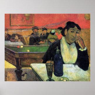 Señora Ginoux en café de Eugène Enrique Paul Póster